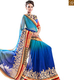 FROM THE HOUSE OF STYLISH BAZAAR BEAUTIFUL BLUE CHIFFON DESIGNER SHADED SAREE WITH WELL DESIGNED BORDER MANJ12102