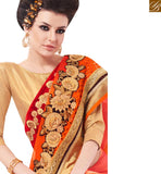 BROUGHT TO YOU BY STYLISH BAZAAR LOVELY ORANGE CHIFFON HEAVY EMBROIDERED BORDER SAREE WITH BROCADE BLOUSE MANJ12103