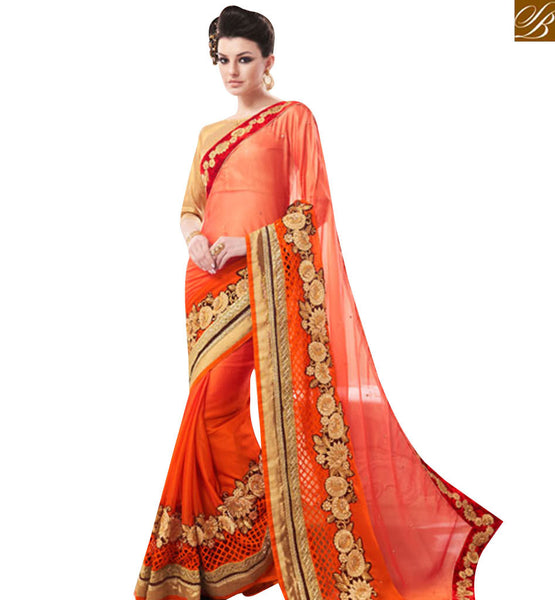 STYLISH BAZAAR LOVELY ORANGE CHIFFON HEAVY EMBROIDERED BORDER SAREE WITH BROCADE BLOUSE MANJ12103