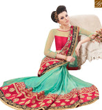 STYLISH BAZAAR PRESENTATION SHOP GREEN CHIFFON DESIGNER SAREE FROM STYLISH BAZAAR WITH SILK BLOUSE MANJ12104