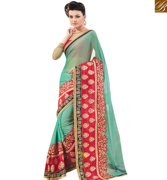 STYLISH BAZAAR SHOP GREEN CHIFFON DESIGNER SAREE FROM STYLISH BAZAAR WITH SILK BLOUSE MANJ12104