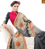 STYLISH BAZAAR INTRODUCES MARVELOUS CHINON CHIFFON GREY SHADED FLOWER EMBROIDERED SAREE MANJ12106