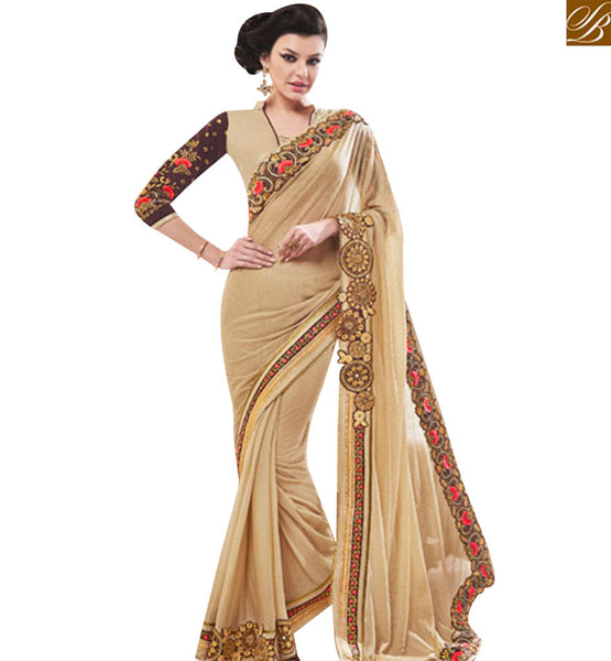 STYLISH BAZAAR STUNNING BEIGE LYCRA DESIGNER SAREE HAVING WELL EMBROIDERY ON BORDER AND BLOUSE SLEEVES MANJ12108