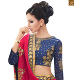 FROM STYLISH BAZAAR MAGNIFICENT PINK GEORGETTE SAREE AND NAVY BLUE EMBROIDERED BLOUSE MANJ12109