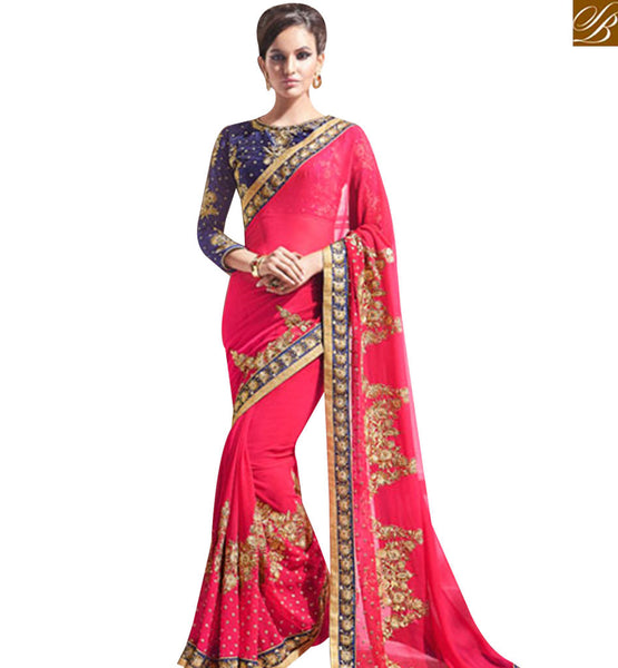 STYLISH BAZAAR MAGNIFICENT PINK GEORGETTE SAREE AND NAVY BLUE EMBROIDERED BLOUSE MANJ12109