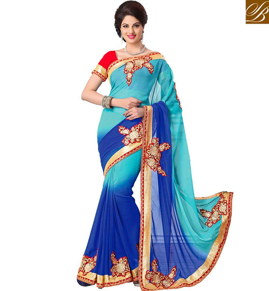 CLASSY FLORAL DESIGN OCCASION WEAR SAREE RTMDV1210 BY BLUE