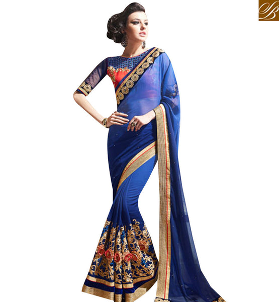 STYLISH BAZAAR BLUE GEORGETTE SHADED WELL EMBROIDERED DISPLAYING SAREE WITH ROUND NECK BLOUSE MANJ12110