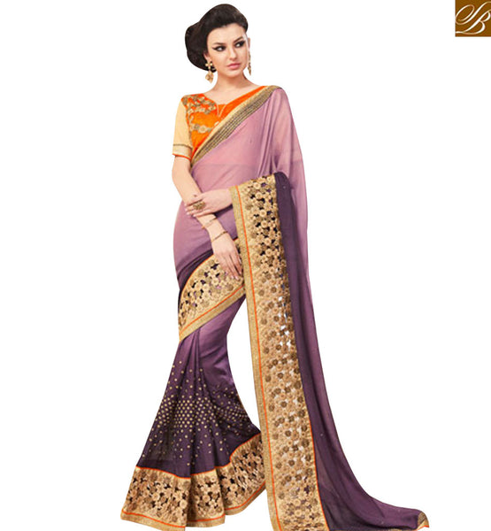 STYLISH BAZAAR PURPLE SHADED SATIN CHIFFON OUTSTANDING DESIGNER SAREE WITH EMBROIDERED ON BORDER MANJ12111