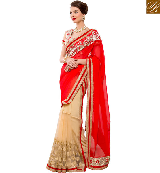 STYLISH BAZAAR DELIGHTFUL RED AND CREAM DISPLAYING SARI WITH DESIGNER BLOUSE RTANT121