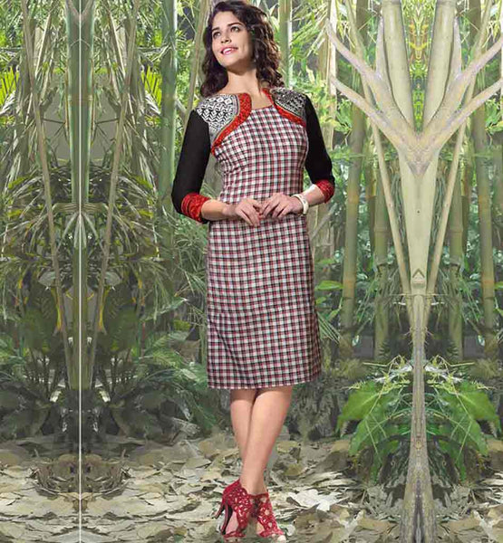 SHOP LADIES CHECKS KURTI TOP WITH EMBROIDERED KOTI STYLE DESIGNING