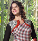 FASCINATING KOTI LOOK CHECKS DESIGN LINEN KURTI