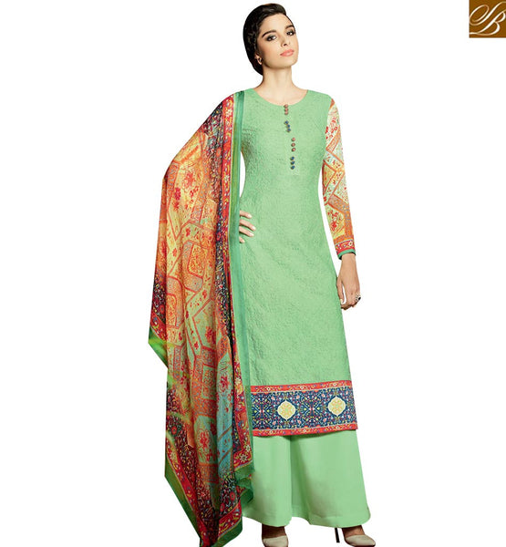 STYLISH BAZAAR BUY SEA GREEN DESIGNER SALWAR KAMEEZ HAVING PLAZZO STYLE WITH PRINTED DUPATTA KMV122