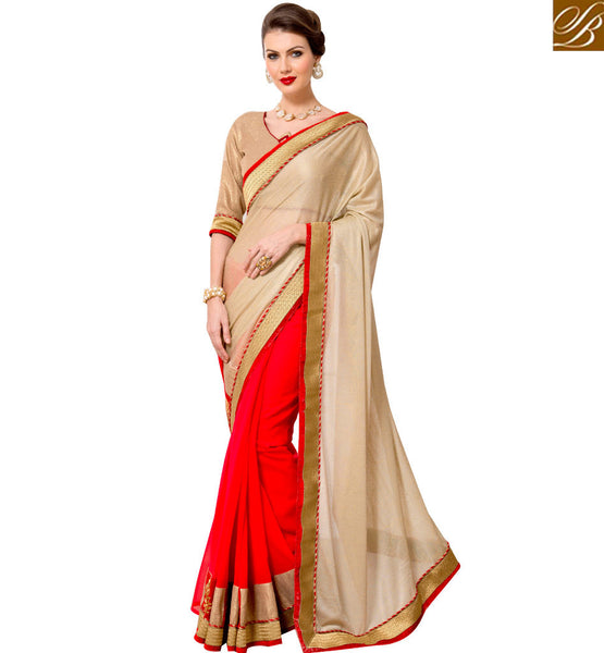 STYLISH BAZAAR ADMIRABLE RED AND CREAM DESIGNED SAREE RTANT123