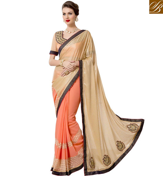 STYLISH BAZAAR LOVELY CREAM AND PEACH REMARKABLE DESIGNER SAREE RTANT124