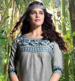 PLEASING GREY COLOUR LINEN KURTI WITH HEAVY EMBROIDERY NECK