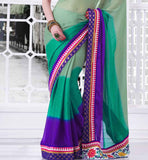 TEMPTING GREEN SHADED GEORGETTE SARI RTCHA125