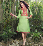 FROCK STYLE PARTY WEAR KURTIS ONLINE SHOPPING INDIA THREE FORTH SLEEVE