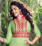 TRENDY LINEN DESIGNER KURTI WITH HEAVY EMBROIDERY NECKLINE