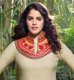 GOOD LOOKING BEIGE LINEN KURTI WITH MODERN STYLING