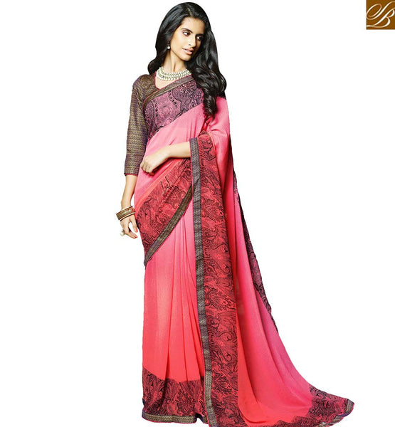 STYLISH BAZAAR STUNNING PRINTED SARI WITH FLORAL DIGITAL PRINTS RTMAS12707