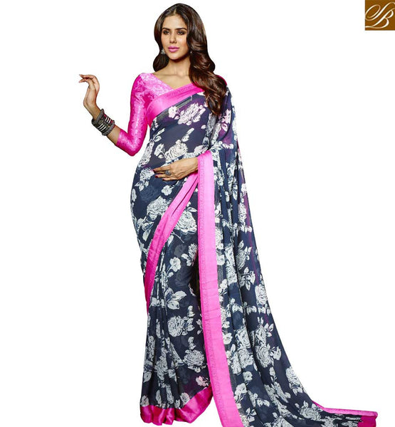 STYLISH BAZAAR SUPERB DESIGNER FLOWERY PRINT SARI DESIGN FOR PARTIES RTMAS12713