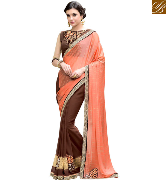 STYLISH BAZAAR ASTONISHING BROWN AND PEACH COLOUR HALF AND HALF DESIGNER SARI RTANT127
