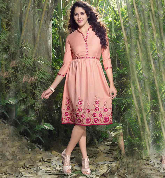 LADIES PARTY WEAR FROCK STYLE DESIGNER LINEN TUNIC ONLINE SHOPPING