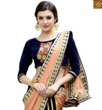 STYLISH BAZAAR INTRODUCES CLASSY PEACH AND BLACK HALF AND HALF DESIGNER SAREE RTANT128
