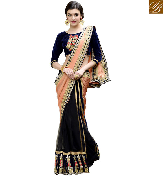STYLISH BAZAAR CLASSY PEACH AND BLACK HALF AND HALF DESIGNER SAREE RTANT128