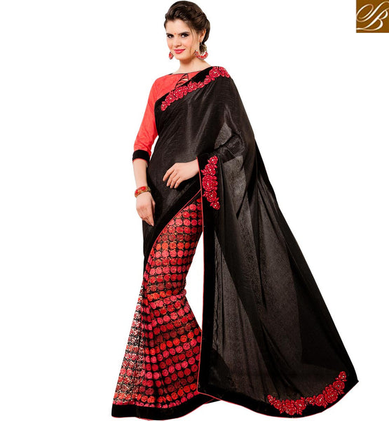STYLISH BAZAAR EXCEPTIONAL DESIGNER BLACK & RED COLORED HALF & HALF SAREE RTANT129
