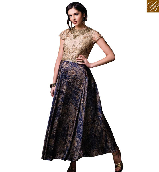 STYLISH BAZAAR ELEGANT BEIGE AND BLUE SILK DESIGNER PRINTED GOWN HAVING EMBROIDERY ON CHEST SLISM12