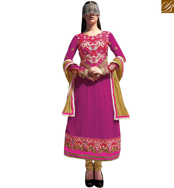 EXQUISITE PINK GEORGETTE PARTY WEAR ANARKALI DRESS RTASM12
