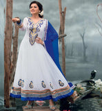 Bhagyashree in designer off white Anarkali salwar kameez suit.