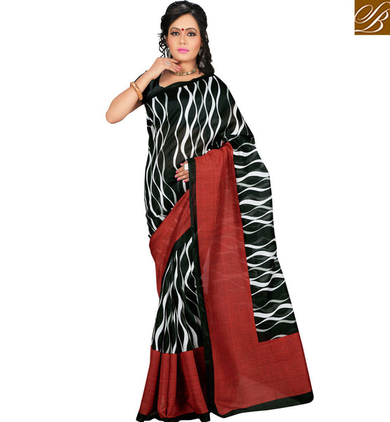 FROM THE HOUSE  OF STYLISH BAZAAR ATTRACTIVE BLACK WAVE PRINT DESIGN SAREE RTVAN12