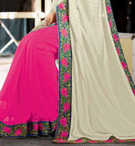 PARTY WEAR SAREES ONLINE SHOPPING IN INDIA WITH BLOUSE STYLISH BAZAAR CREAM & PINK VISCOSE