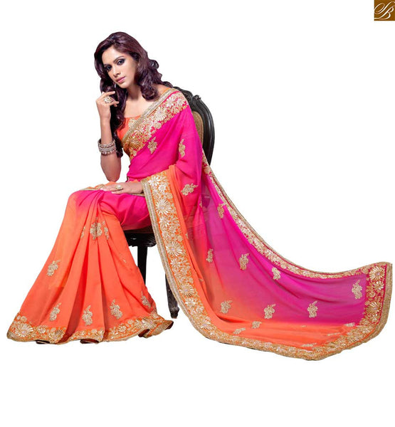 RADIANT FUSION OF ORANGE AND PINK IN A SAREE COUPLED WITH A PINK BLOUSE RTMAG13