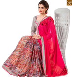 FROM THE HOUSE OF STYLISH BAZAAR TOPNOTCH DESIGNER GEORGETTE HALF & HALF SAREE RTANT130