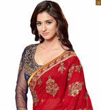 Red Georgette heavy embroidered designer saree with lace border and blue velvet-net long sleeve blouse photo