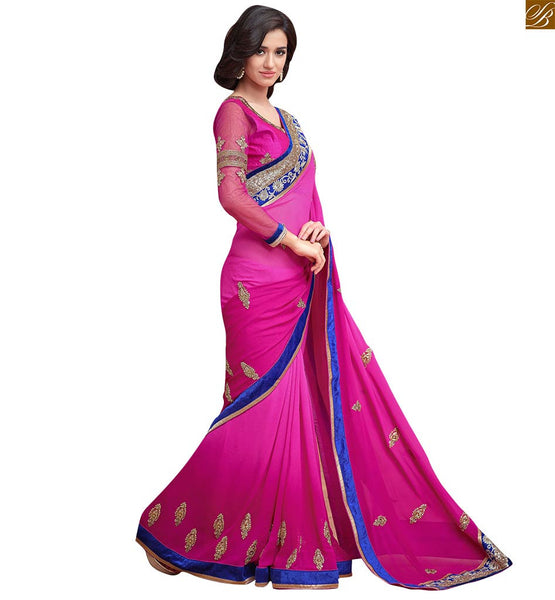 Pink georgette designer stone work and floral embroidered saree with artsilk and net blouse. Also provided is the blue velvet lace at the border Pic