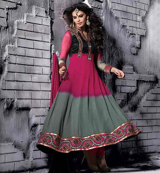 SMART COLOR COMBINATION DESIGNER SHADED PARTY WEAR ANARKALI DRESS