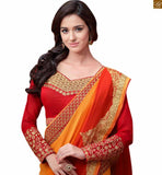 Red and Orange georgette heavy embroidered designer saree with stone work and Red designer blouse manufactured from good quality Net. This saree comes with heavy embroidery work on neck line and sleeves Photo