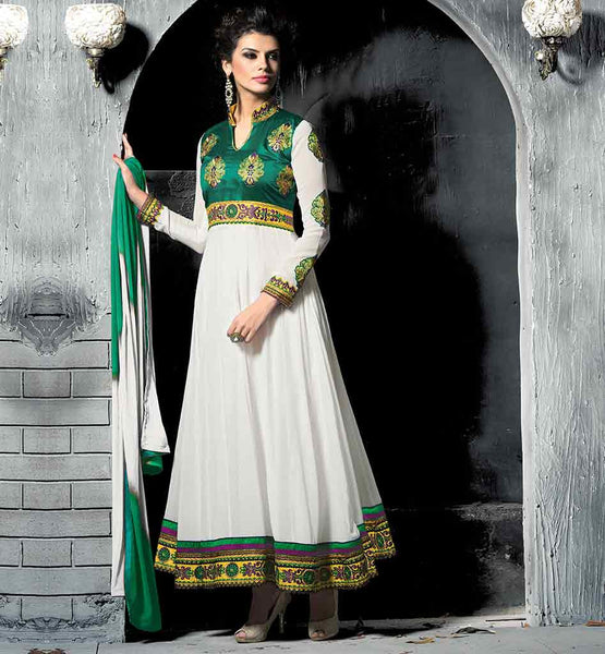 FASHIONABLE HIGH NECK COLLAR PARTY WEAR ANARKALI SHADED DUPATTA