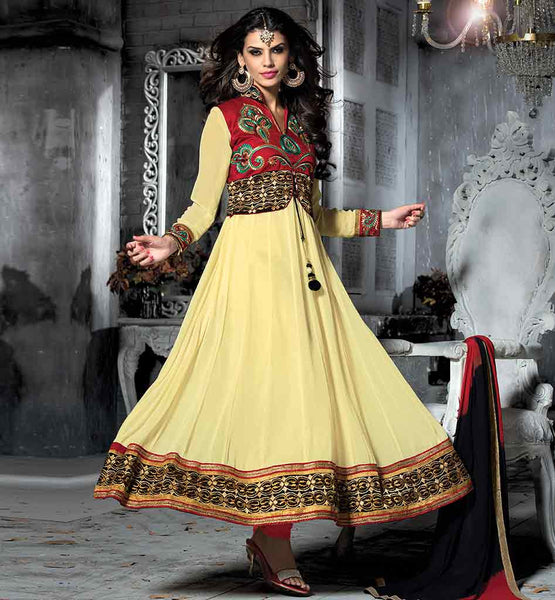 TRENDY HIGH NECK KOTI STYLE ANARKALI FROCK DOUBLE COLOR DUPATTA