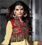 TRENDY  KOTI STYLE ANARKALI WITH HIGH NECK COLLAR & SHADED DUPATTA