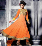 ORANGE PARTY WEAR ANARKALI DRESS WITH MATCHING SALWAR AND DUPATTA