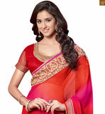 Red georgette zari embroidered saree with pink shades and with lace border and Red art-silk zari worked blouse. Zari work is provided on the neck line and back side of blouse has heavy zari work Pic