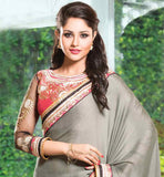 GREY SHINNING GEORGETTE SAREE WITH HEAVY EMBROIDERED PEACH BLOUSE