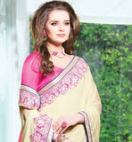 CREAM & PINK GEORGETTE SAREE WITH HEAVY EMBROIDERY BORDER & DUPION BLOUSE