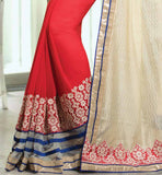 CREAM & RED GEORGETTE NICE EMBROIDERY SAREE WITH RED BLOUSE