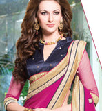 GREY & PINK GEORGETTE SAREE WITH FABULOUS EMBROIDERY & DUPION BLOUSE
